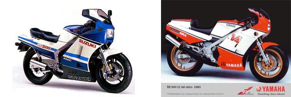 Motos carcas e impresionantes. La Suzuki GP500 y la Yamaha RD500