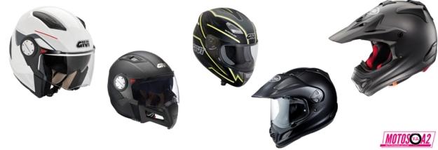 Lista con los tipos de cascos
