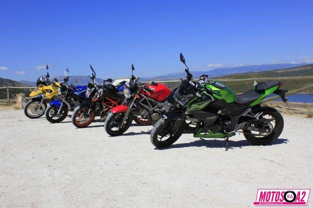 Ya sabéis que estáis invitados a rodar. En esta salida, todo motos para el A2: (De izquierda a derecha) GS650, el hierraco que se caía a trozos, GS500 o la freidora, da igual que te pases de aceite, se lo comerá. KTMDuke390, de un amigo que curra en un concesionario, me gustó bastante más como deportiva que la Z. VTR250 una moto cara pero idónea para el A2. Y la protagonista delShow de hoy: Kawasaki Z300